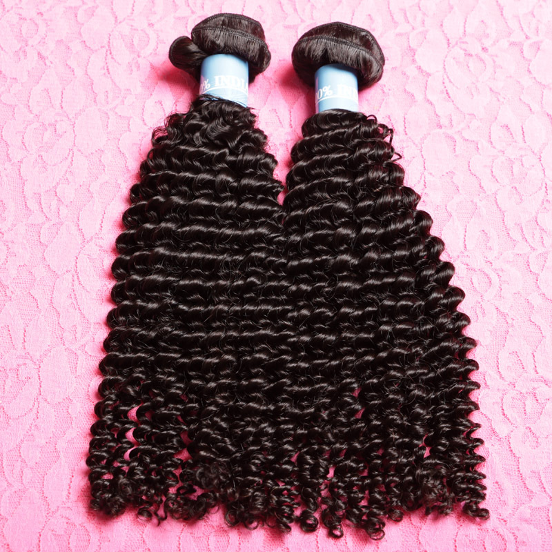 2 Bundles Indian Curly Virgin Hair Afro Kinky Curly Virgin Hair Indian Curly Weave Human Hair Grade 7a Unprocessed Hair(China (Mainland))