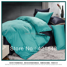Free shipping 100% cotton turquoise solid pattern 4pcs bedding set full/queen/king size bedclothes bed linen duvet cover(China (Mainland))