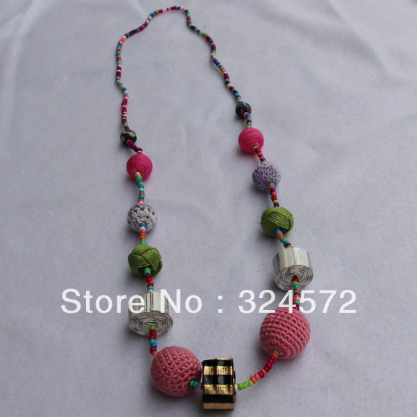fashion necklace  coiling ball pu  style necklace handmade necklace free shipping  colouredand multifarious lovely ball