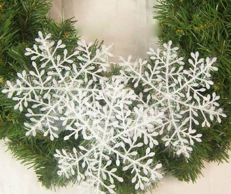 3Christmas Ornaments Plastic Snowflake Hanging Stereoscopic Snow Flakes Ornament Tree Window Christmas Decorations  -  Bravo!! store