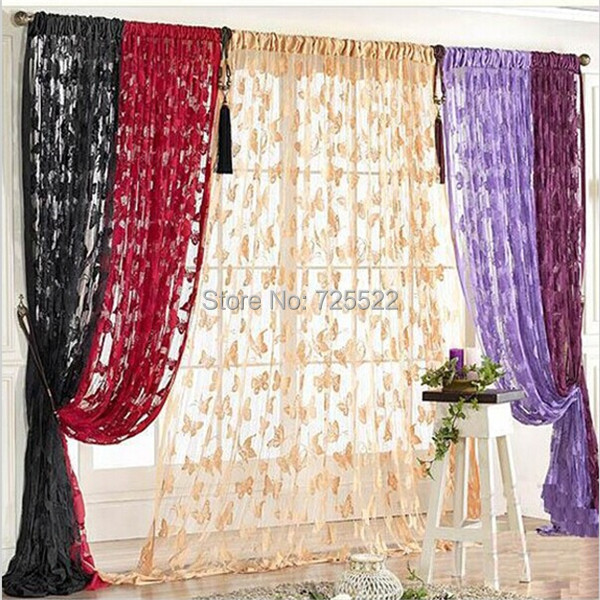 ,Romantic Butterfly Tassel String Door Blue Green Pink Ceram Red Purple Curtain Fashion Window Room Divider Valanc - Huarlily Import & Export Co., Ltd. store