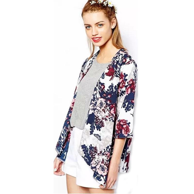 2015 New Fashion Women Kimono Cardigan Vintage Flower Printed Tassel Blouses femininas blusas Ladies Long sleeve Tops 51(China (Mainland))