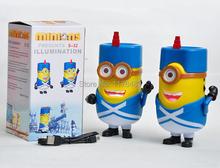 New Cute Mini Speaker DESPICABLE ME minion 2 Portable Micro SD TF Card USB Speakers FM Radio MP3 MP4 Player Amplifier Table PC(China (Mainland))