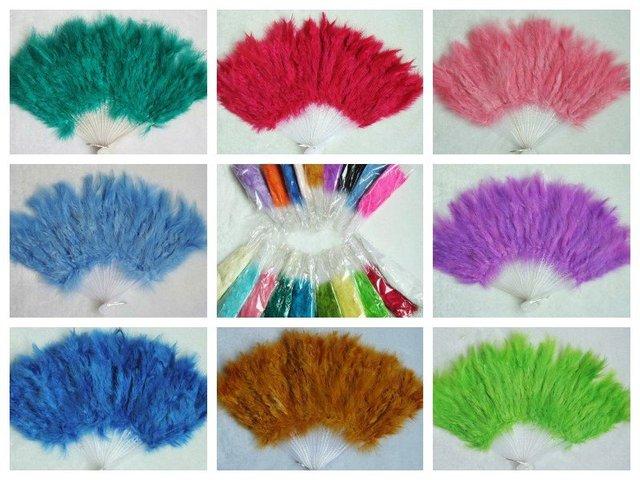 Wholesale 100pcs/lot colour mix burlesque fans fan dance feather fan  Christmas gifts