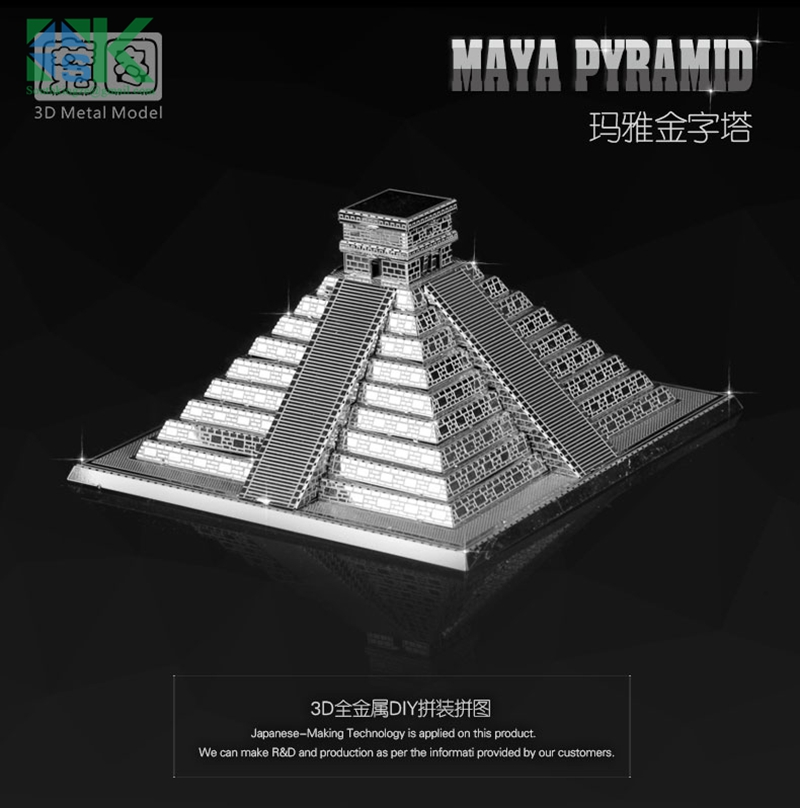 2016 New Arrival ICONX 3D Metal model kits 6 inch MAYA PYRAMID 1 Sheets Military Nano Puzzles DIY Creative gifts free shipping(China (Mainland))