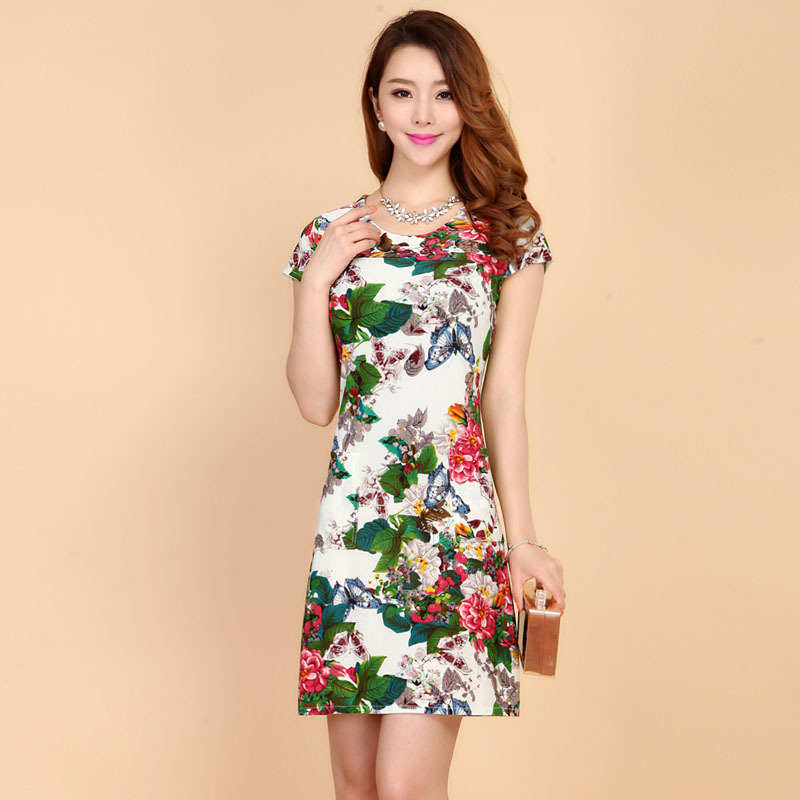 Free shipping women's designer brand 2015 new summer dress plus printing middle-aged mother in the long sleeved slim dress sale(China (Mainland))
