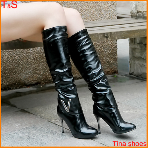 free shipping fashion winter stretch high heel boots knee. Black Bedroom Furniture Sets. Home Design Ideas
