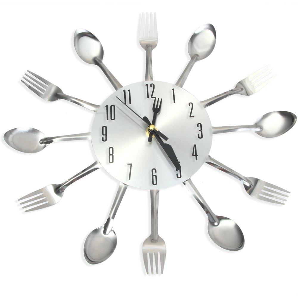 Muurstickers Keuken Bestek : Stainless Steel Kitchen Wall Clock