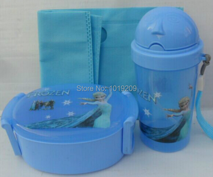 2014 Children's dinnerware set lunch boxes kettle suit, Frozen lunch box(China (Mainland))