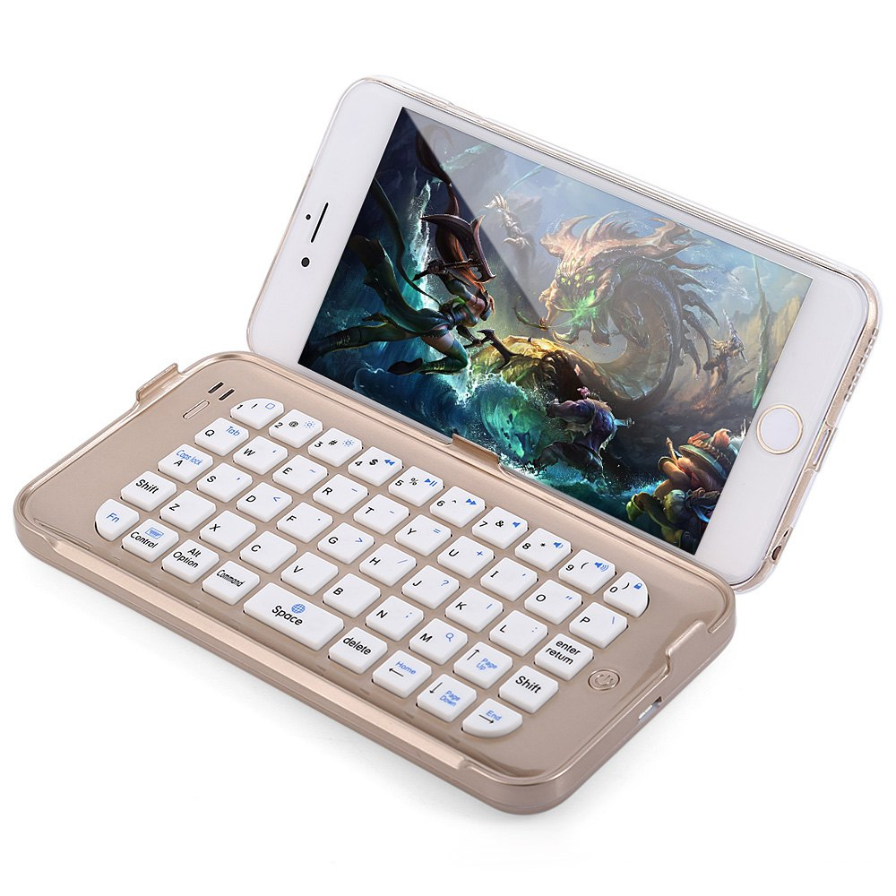 Stand Design Wireless Bluetooth Keyboard With Transparent Back Cover Case For iPhone 6 Plus 6S Plus - 5.5 inch(China (Mainland))