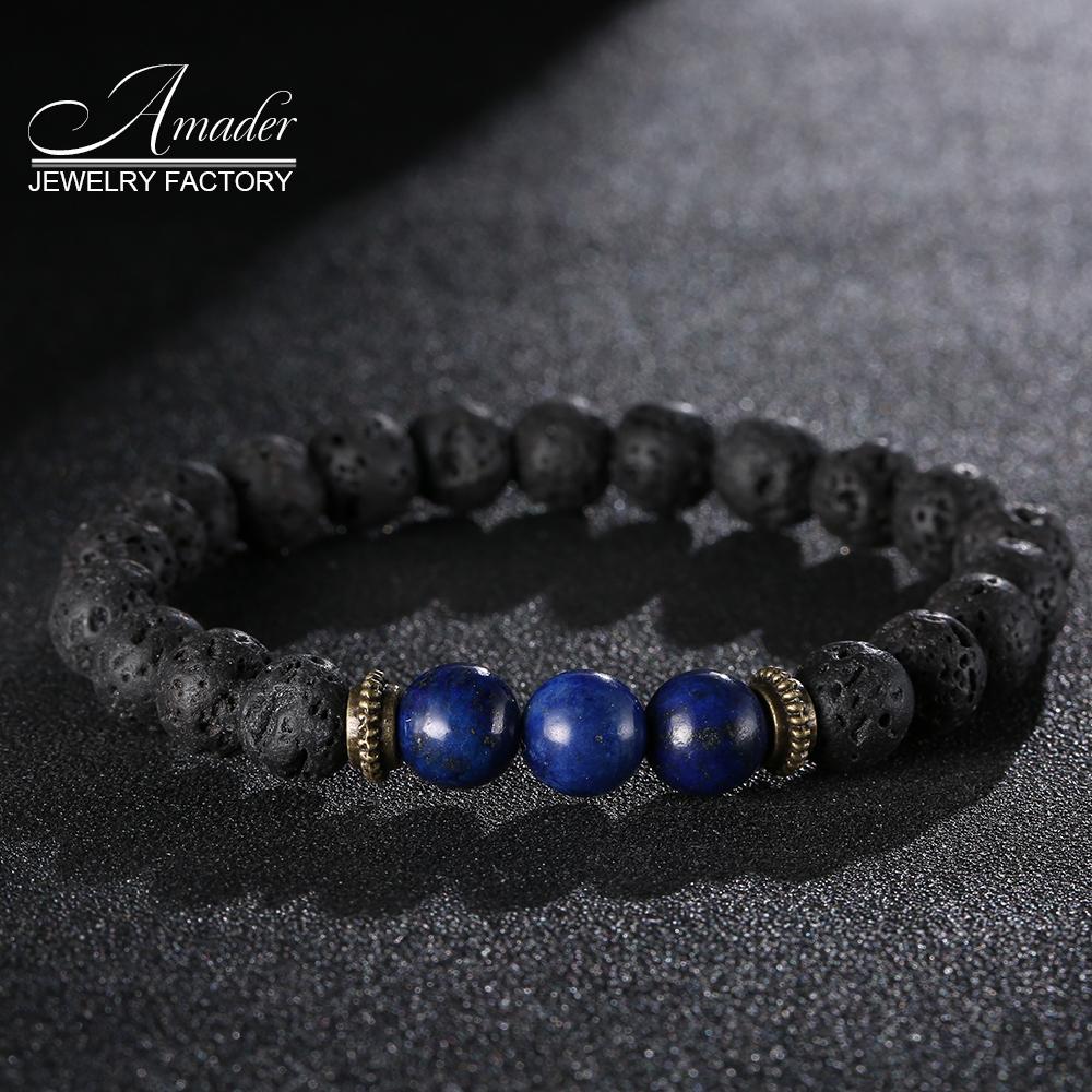 Amader High Quality Buddha Bracelets Natural Stone Lava Round Beads Elasticity Rope Men Women Bracelet Free Shipping(China (Mainland))