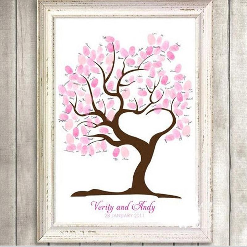 fingerprint tree wedding guest book fingerprint canvas painting wedding decoration party 60x75cm