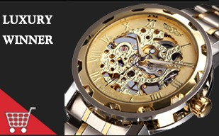 Golden Men Skeleton Mechanical Watch Stainless Steel