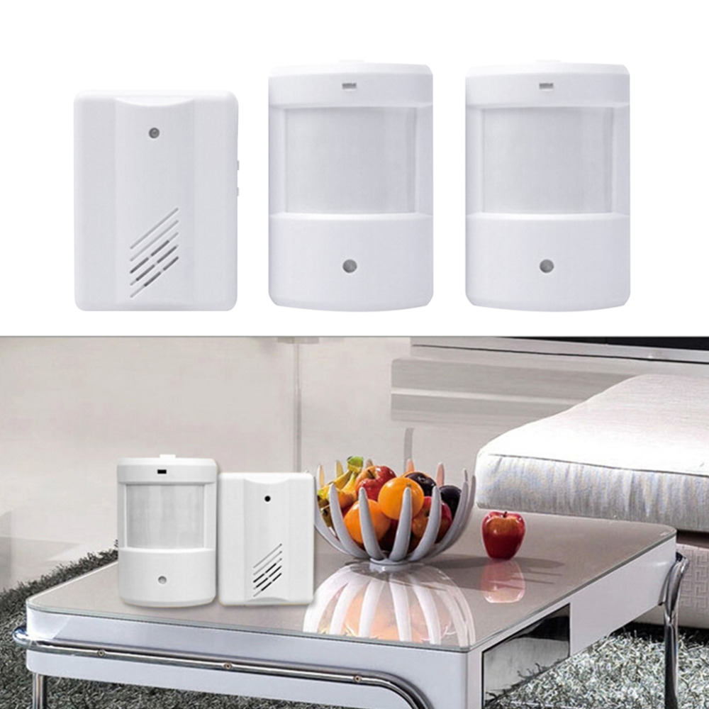Door Bell Alarm Chime Doorbell Wireless Infrared Monitor Sensor Detector Welcome Entry Bell 1 Receiver 2 Transmitter Brand New<br><br>Aliexpress