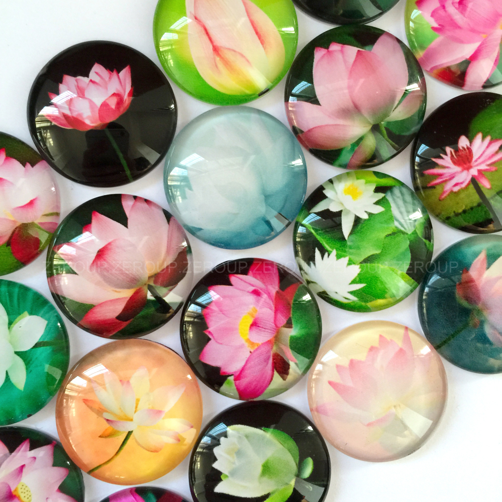 10-16mm round glass cabochon Lotus pictures mixed pattern fit cameo base setting for flat back jewelry 50pcs/lot TP-300-R(China (Mainland))