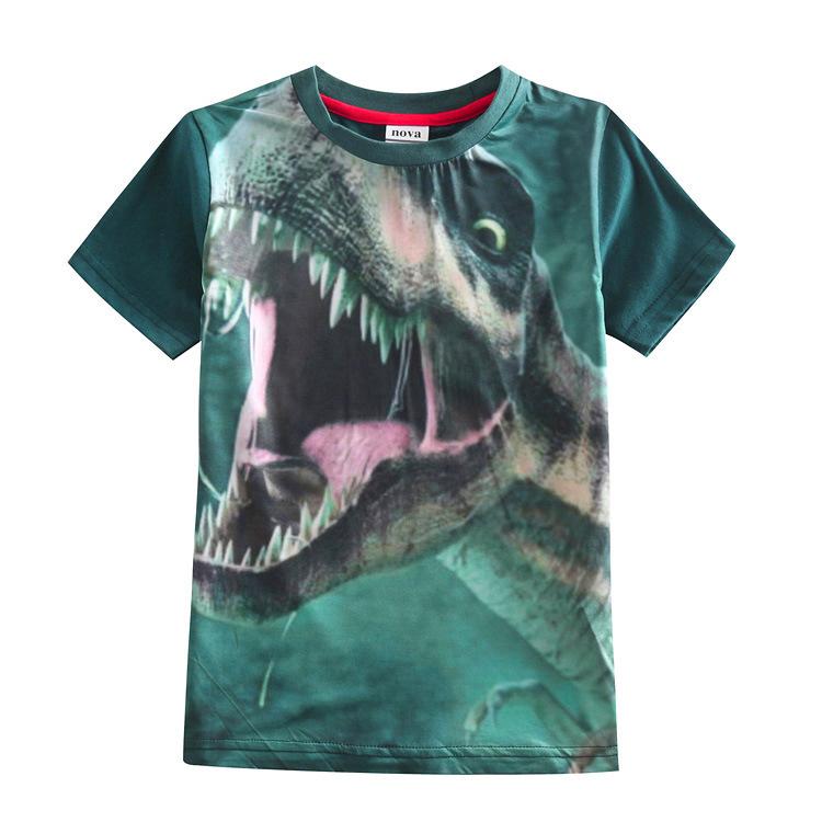 4Y-10Y Summer Boys T Shirts 2015 New Fashion Dinosaur Dinossauro Summer Short Sleeve 100% Cotton T-Shirts For Boy(China (Mainland))