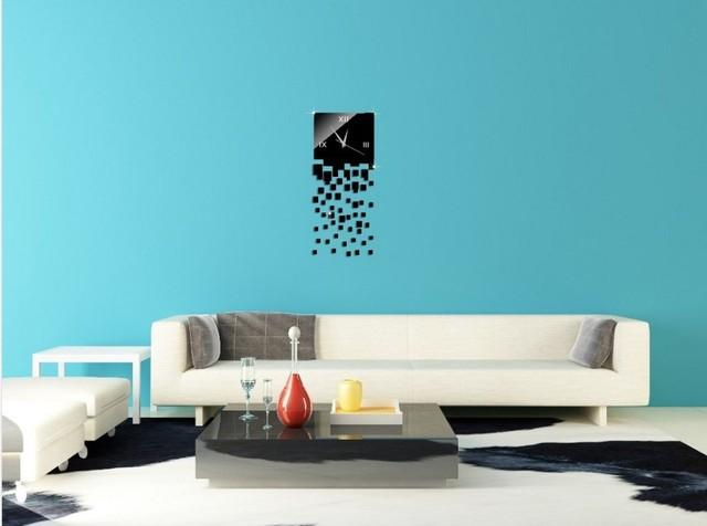 uhr wohnzimmer: diy design wand uhr wanduhr spiegel wandtattoo ... - Wohnzimmer Uhren Modern