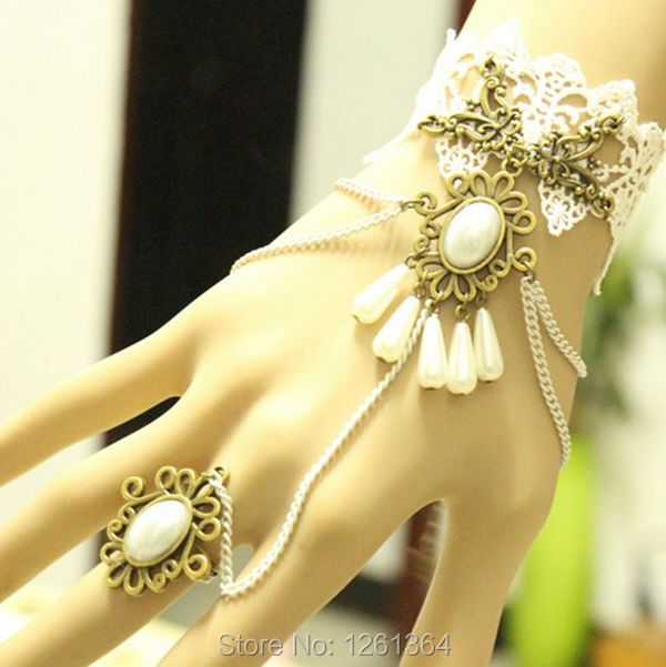 High quality White lace pearl Hand bracelet ring,essential dress up jewelry for Giant party ,nice gift for your lover(China (Mainland))