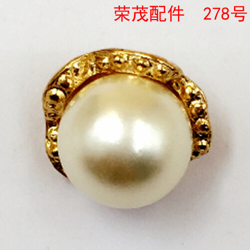 12*14MM White Pearl ornaments with cap DIY alloy loose Beads Bracelet button metal pendant accessories wholesale manufacturers()