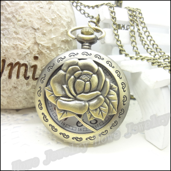 New Steampunk Quartz Dress Pocket Watch Rose Flower Vintage Style Bronze Necklace Pendant Chain Clock