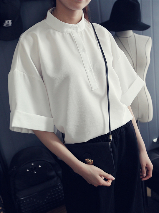 2015 New Spring Summer Female Korean Large Blouse Collar Bat Sleeve White Shirt Chiffon Short Sleeved Top Womens Blusas Blouses(China (Mainland))
