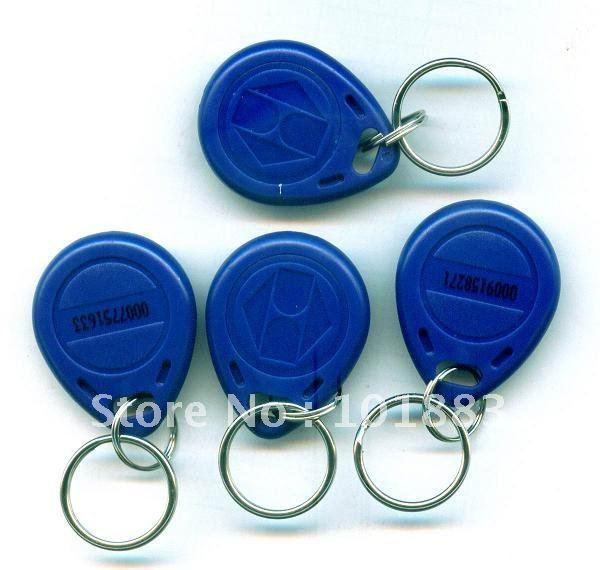 100 pcs Blue125Khz RFID Proximity ID Identification Token keyfob key Tag Ring