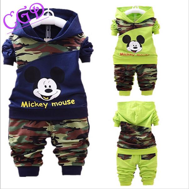 children autumn clothing set boys girls sports suits kids outfits baby clothes newborn mickey shirt+pants Sweatshirt Sportswear(China (Mainland))