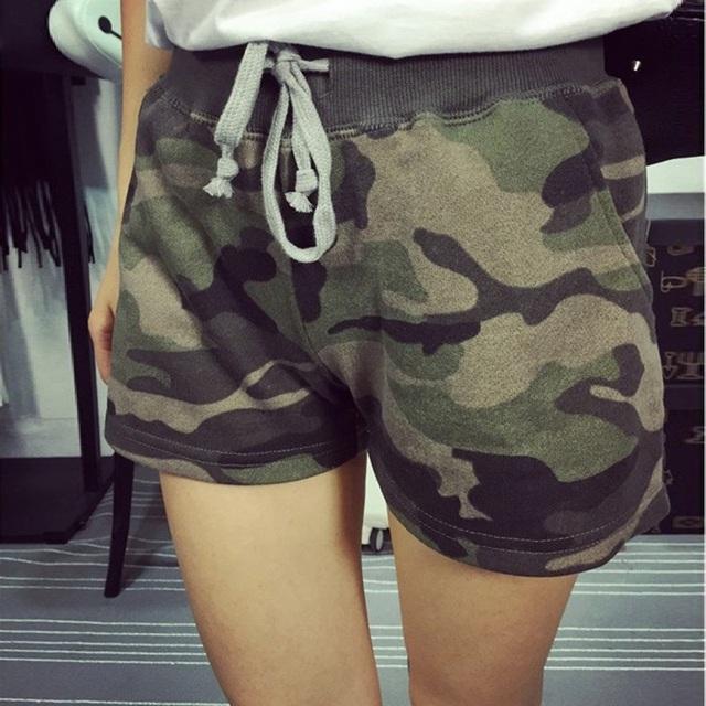 Высокое качество новинка женщин лето высокой талией спортивные шорты женщин камуфляж ...