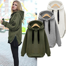 High quality New Winter Autumn Loose Hooded Jacket Plus Size Thick Velvet Long sleeve Sweatshirt Korean Style Hoodies 5216(China (Mainland))