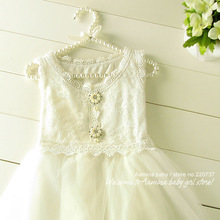 [Aamina] White princess lace baby girls dresses,wedding dresses,summer girls clothes,wholesale baby boutique clothing 5pcs/lots