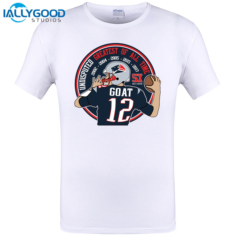 IALLYGOOD New Men T shirt 2017 Tom Brady GOAT 12 Casual Funny Man Cotton Tees Funny White Tops Short Sleeve Hipster Clothing(China (Mainland))