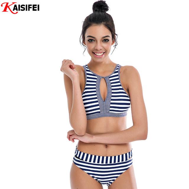Новый 2016 бикини женщины Zip бразильский женский бикини ретро купальник сексуальные купальники полосатый купальники майо де водяной роковой