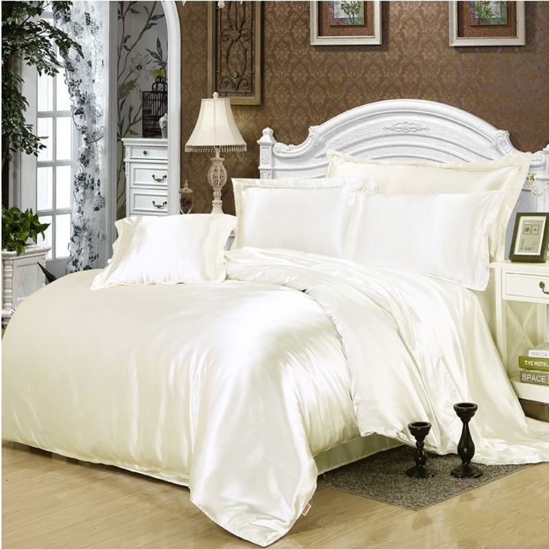 solid white black gold gray satin comforter duvet cover twin queen king 4pcs imitate silk. Black Bedroom Furniture Sets. Home Design Ideas