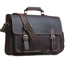 TIDING Men Briefcases Laptop Bag Vintage Style Cross Body Messenger Bag Cowhide Leather New Arrival 1099(China (Mainland))