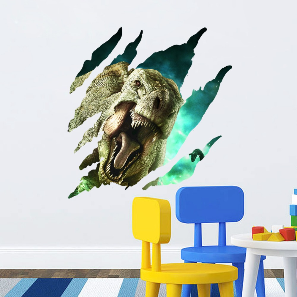 Jurassic park 3d dinosaur through the wall stickers for for Dinosaur wall decals for kids rooms
