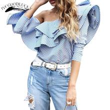 Buy Ruffles Elegant Shoulder Tops Blouse Women's Shirt Summer Top Woman 2017 Long Sleeve Fashion Tops Blusas Plus Size Blouses for $13.01 in AliExpress store