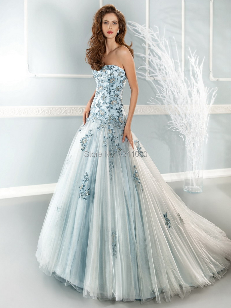 Sky Blue Wedding Dress. Aline Deep Vneck Light Blue Chiffon ...