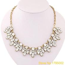 Womens Bib Statement Luxury Rhinestone Necklace for a Classic but Elegant Design Free shipping 4U3V(China (Mainland))