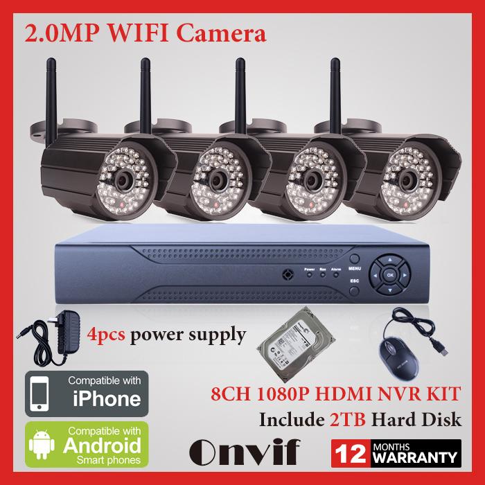 Wireless CCTV System H.264 8CH NVR Network Surveillance Kit 2TB HDD P2P Onvif 1080P HD Outdoor CCTV Seucrity IP Camera WIFI(China (Mainland))