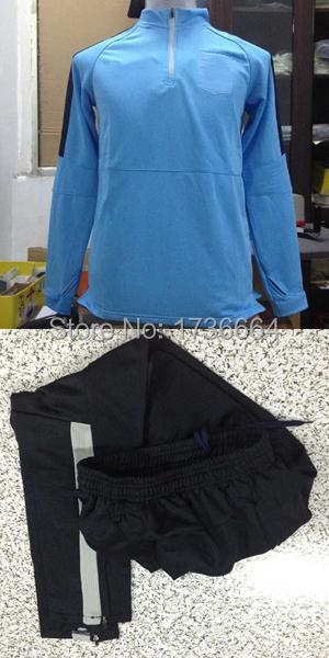 2015 France soccer Training soccer Real madrid training suit referee uniform France survetement football long jacket+long pants(China (Mainland))