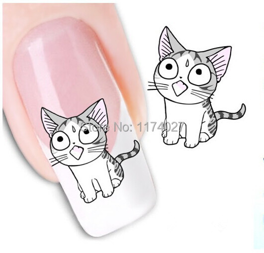 Free Shipping New Water Transfer Cute Cat Nail Stickers Decorative Art Decal decoration(China (Mainland))