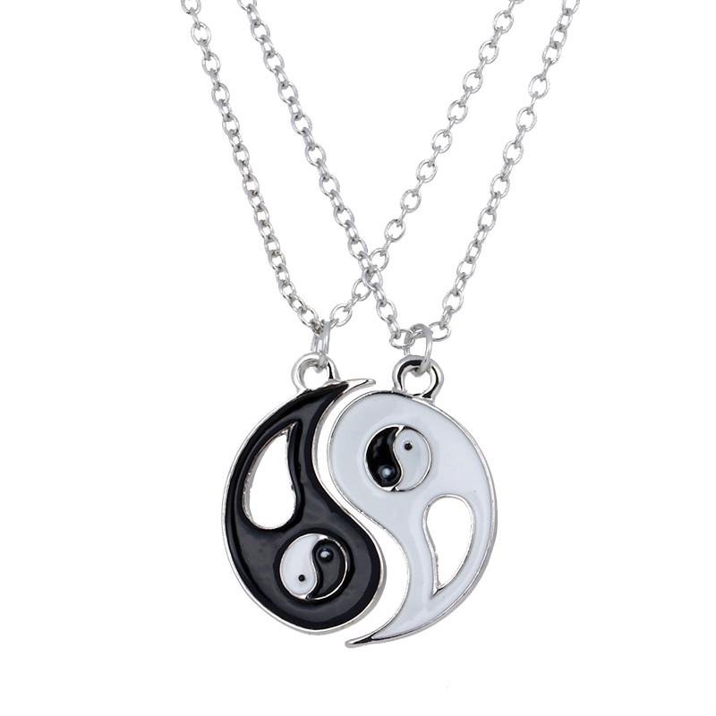 2pcs yin yang pendants necklace black white