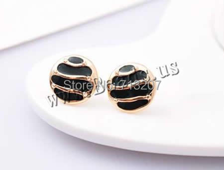Free shipping!!!Zinc Alloy Stud Earring,innovative, stainless steel post pin, Flat Round, 18K gold plated, enamel, nickel<br><br>Aliexpress