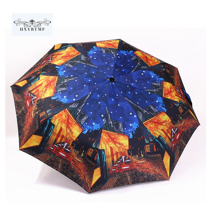 Vintage Oil Painting Automatic Umbrella Windproof Umbrellas Unique Design Three-folding Sun/Rain Umbrella(China (Mainland))