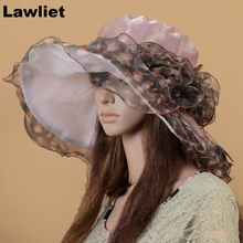 A060 Light Purple Leopard Women Vintage Dress Church Wedding Kentucky Derby Wide Brim Hat(China (Mainland))