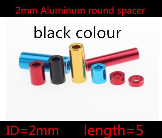 20pcs/lot  2mm  2*5mm black anodized Aluminum Standoff  Spacer  OD=4mm Through Hole<br><br>Aliexpress