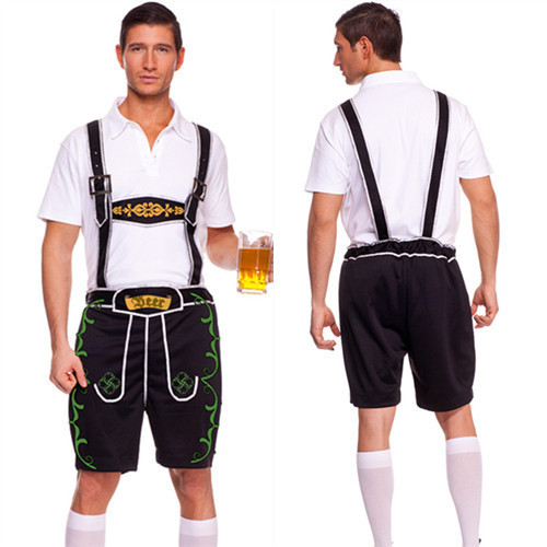 Halloween Masquerade Man's Cosplay Costumes Germany Oktoberfest Beer Man Role Play Disfraces Suspenders Style H157213(China (Mainland))