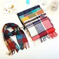 Luxury Brand Plaid Cashmere Tassel Knit Child Scarf Girl Neck Warm Scarf Boy Neckerchief Autumn Winter