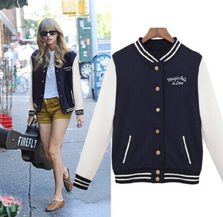 2014 Autumn College style Womens Coat Single Breasted Collar Baseball Jacket for Women Ladies Sweatshirt Outerwear Cardigan(China (Mainland))