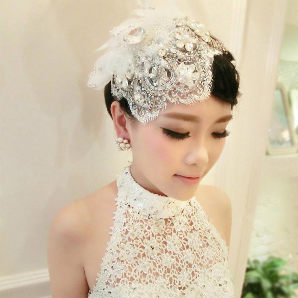 2017 High-quality Handmade Lace Headdress Flower Hat Pearl For Women Wedding Hair Accessories Wedding Hat Veils